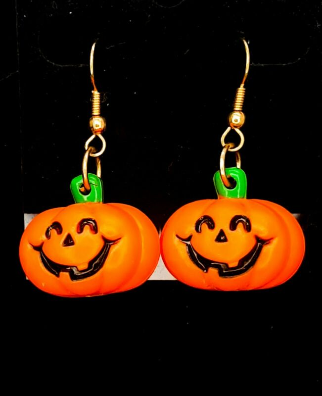 Vintage 1980s Russ Pumpkin Earrings Jack O Lanten Earrings Halloween Earrings