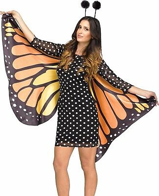 Fly Costume Wings (Monarch Butterfly Wings Adult Orange Butter Fly Costume Dress  S/M 2-8 M/L)
