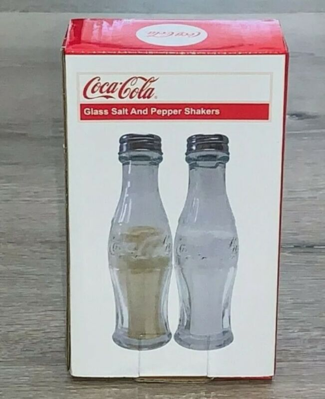 Vintage Retro Style Coca Cola Glass Coke Bottle Salt and Pepper Shakers Set New