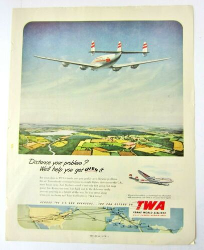 Advertising- 1952 Trans World Airlines TWA Travel- LOT AD104