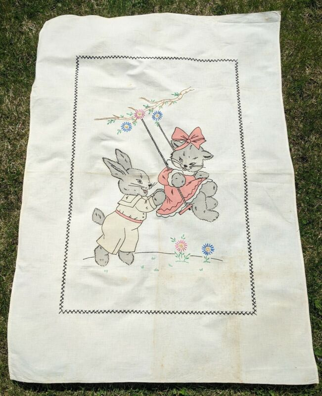 ANTIQUE AND EMBROIDERED AND HAND-PAINTED KITTEN AND BUNNY CLOTH