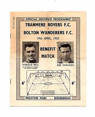 1954 -1955  Friendly Tranmere Rovers  v   Bolton Wanderers