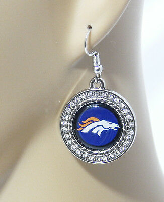 DENVER BRONCOS ROUND LOGO WITH CLEAR RHINESTONE DROP EARRINGS-LARGE