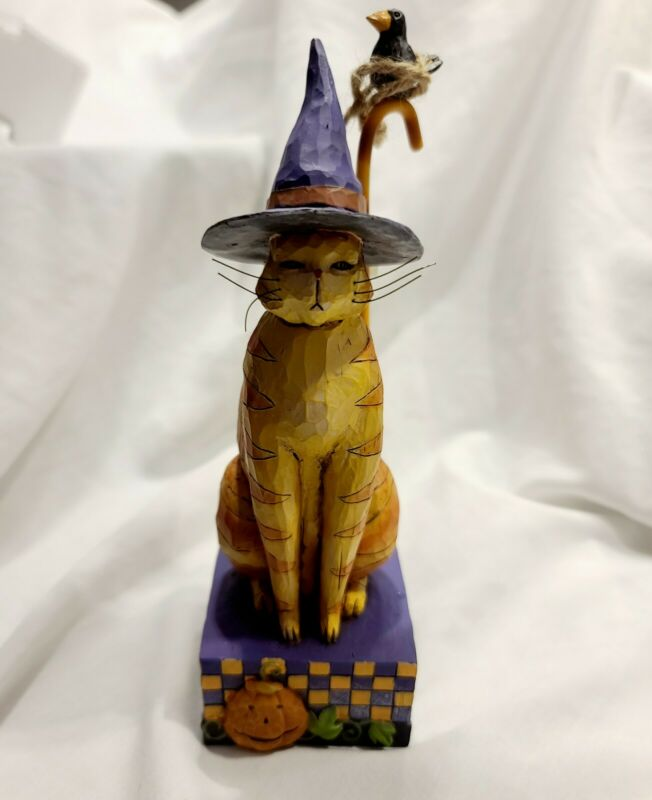 JIM SHORE KITTY IN A WITCH HAT  HALLOWEEN FALL AUTUMN CAT FIGURINE NEW IN BOX