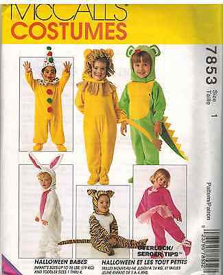 7853 UNCUT Vintage McCalls SEWING Pattern Halloween Costume Lion Tiger Toddler