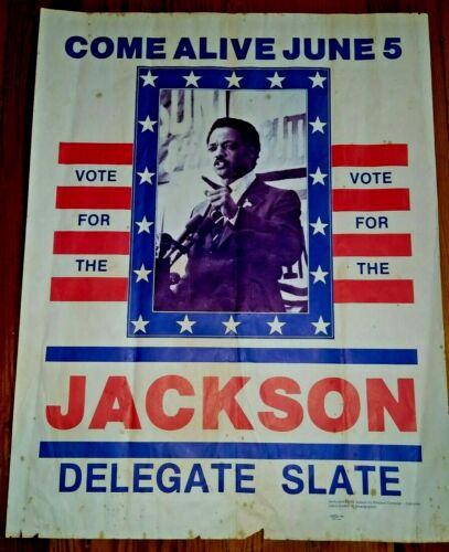 "RARE JESSIE JACKSON FOR PRESIDENT ~ ORIGINAL 1984 Broadside ""Come Alive June 5"""