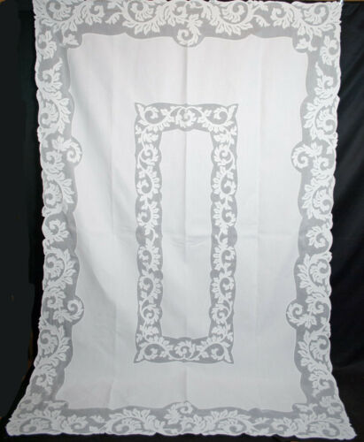 "Antique Tablecloth Organdy Applique Whitework, Hand Stitched, 102"" x 66-1/2"""