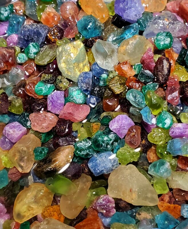 Ruby Sapphire Emerald Aqua Tanzanite Tourmaline+ Tiny-Med 200+Cts Rough Crystals
