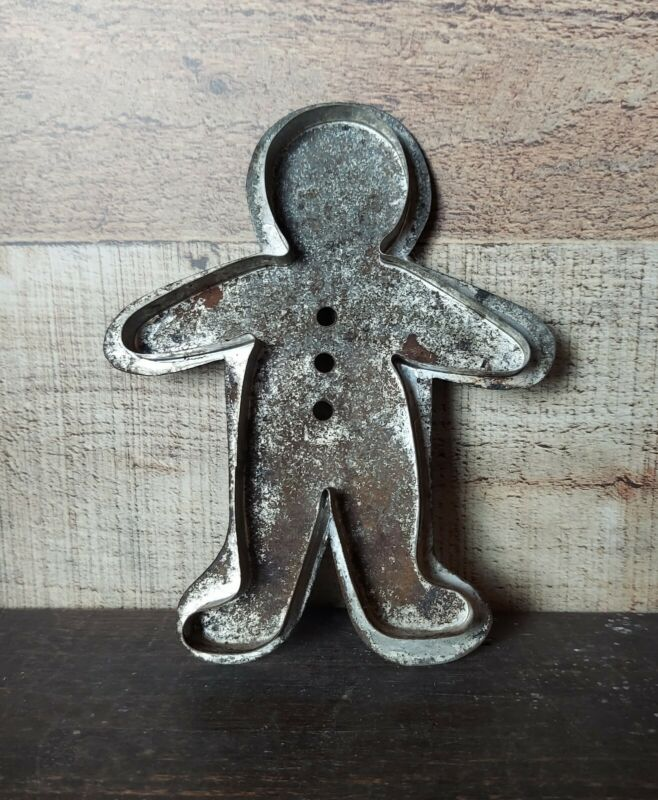 Vintage Large Tin Metal GINGERBREAD MAN  Flat Back Folk Art Cookie Cutter