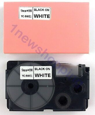 New Great Quality Compatible For Casio Tape 9mm Black On White Label Xr-9we1