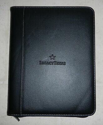 Legacy Texas Bank Logo Zippered Padfolio Notebook Organizer Vitronic Writing Pad