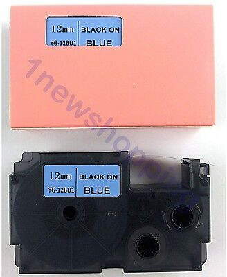 Great Quality Compatible For Casio Tape 12mm Black On Blue Label Xr-12bu1