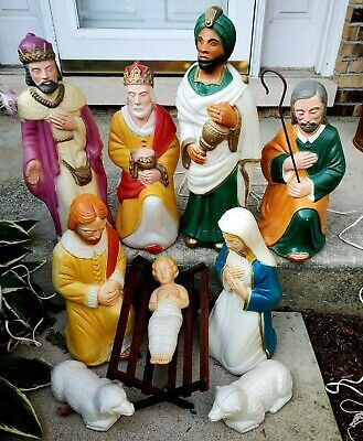 Poloron 10 piece Nativity Lighted Blow Mold Set Christmas Set w/Cords and Manger