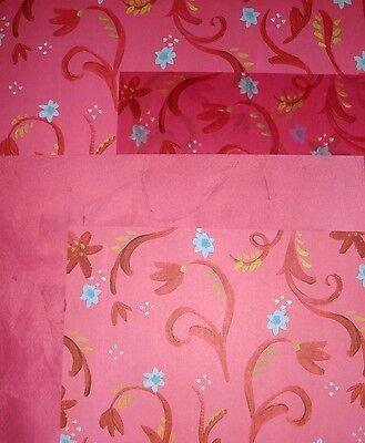 Lot #1 K&Co 4 Sheets of Pink Floral Designer Cardstock 12' x 12