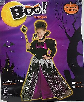 Halloween Boo Spider Queen Dress & Collar Costume Size Small 4-6 NIP - Girl Witch Costume