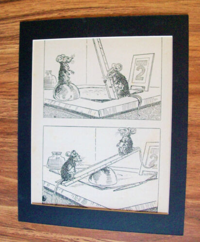 Print Mice Mouse Ruler Home Made See Saw 1930s Bookplate 8x10 Matted Adorable