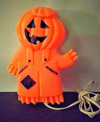Vintage Pumpkin Man Blowmold RARE Light Flat Design Great for Windows 2 sided