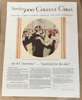Woodbury facial soap ad 1927 vintage print 20s art illustration College Girls