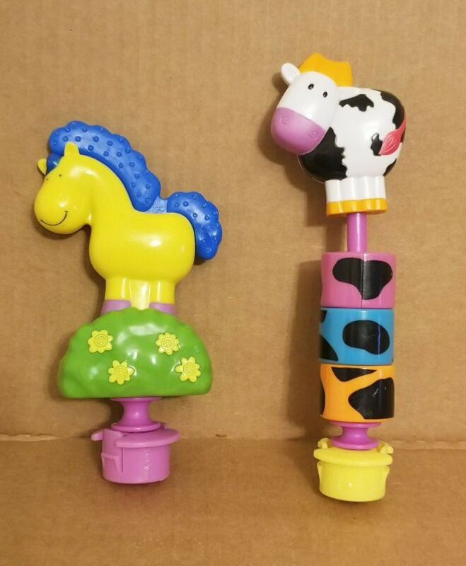 Evenflo Mega Exersaucer Farm Horse Teether + Cow Spinning Block Replacement Toys