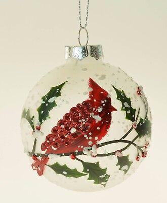 Glass Cardinal on Holly Leaf Christmas Ornament - Cardinal Ornament