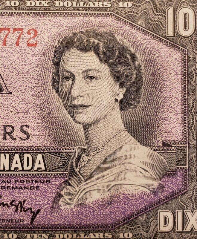 1954 Canada $10. Modified Portrait Banknote.