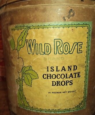 ANTIQUE 1900 WILD ROSE CHOCOLATE DROPS Pasteboard Bucket Pail&Handle Candy Store