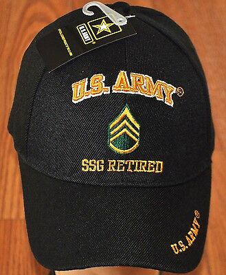 New Black US Army SSG Staff Sergeant Retired Hat Ball Cap Veteran E-6 Licensed
