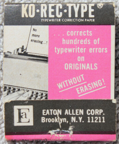NOS Vintage KO-REC-TYPE Typewriter Correction Paper Booklet of 11 Tabs