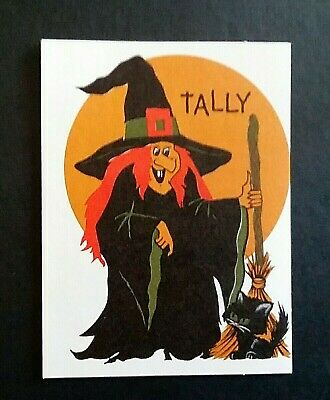 Vintage *UNUSED* Halloween Tally Card: Witch & Black Cat  *1960's* Hallmark