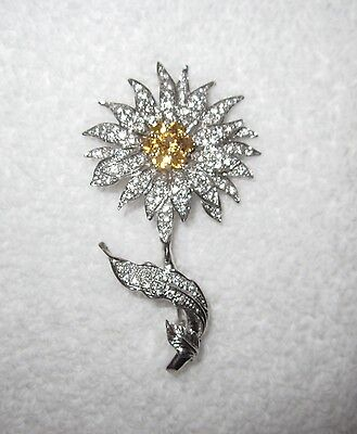 MMA Flower Sterling Silver Crystal Pin Metropolitan Museum NY 18g --Superb!