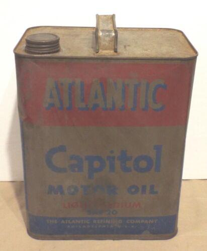 VINTAGE ATLANTIC REFINING COMPANY CAPITOL OIL CAN 2 U.S. GALLON SAE 20 LIGHT MED
