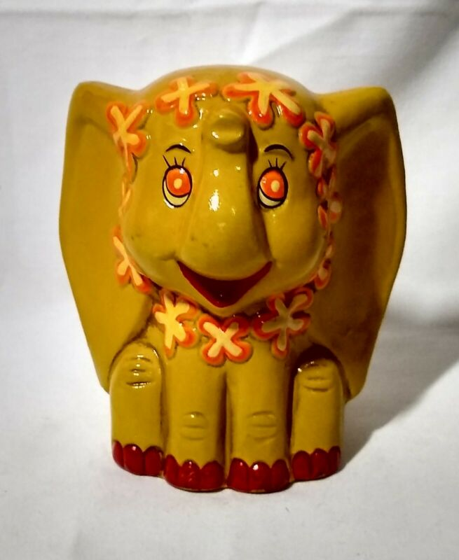 Vintage Yellow Flower Hippie Elephant Coin Bank