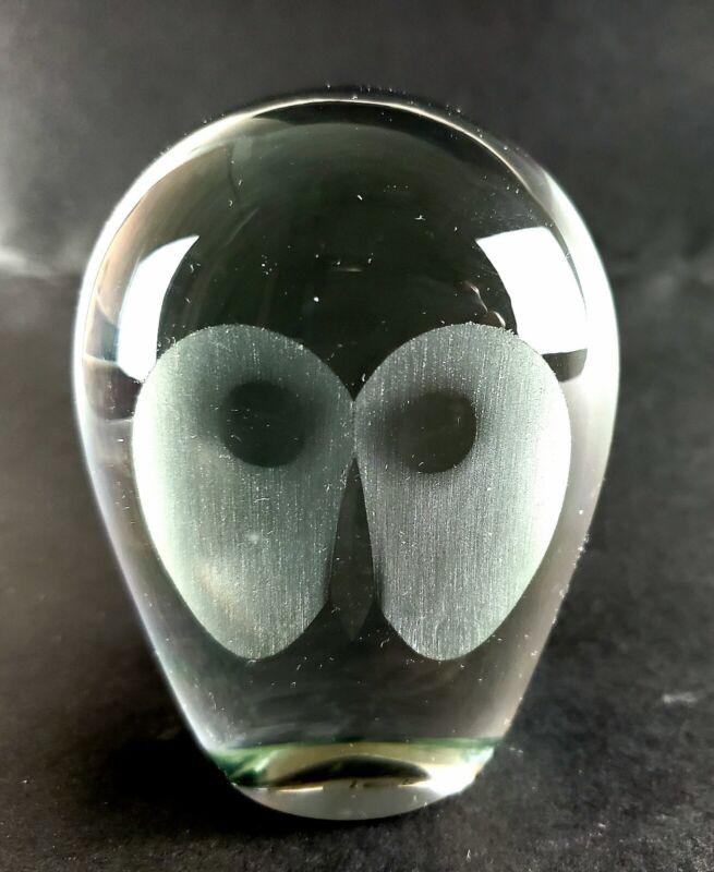 VINTAGE MIDCENTURY HADELAND NORWAY GLASS OWL PAPERWEIGHT 🦉