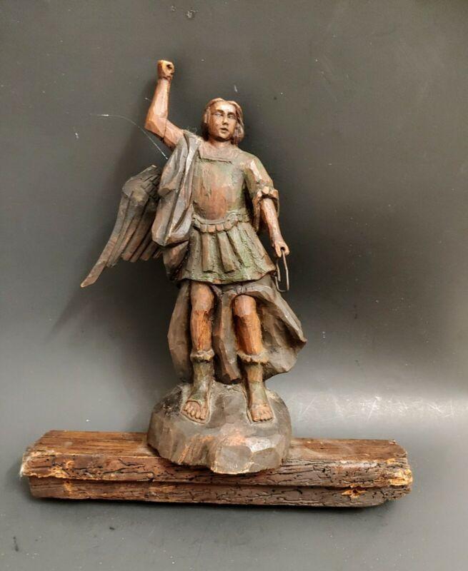 "Antique St Saint Michael Archangel Hand Carved Painted Figurine 13 1/2"""