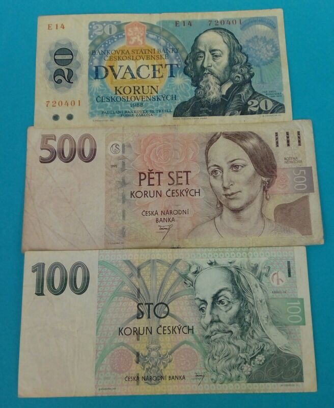 Czech Lot of 3 MIX BANKNOTES./500 Korun 1995 /100 KORUN 97/20 KORUN 88/VERY GOOD