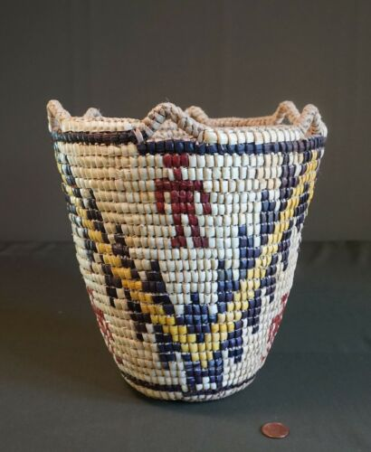 Native American Klickitat Fully Imbricated Human Figure Basket by Elsie Thomas