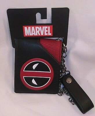 Deadpool leather chain wallet nwt bifold