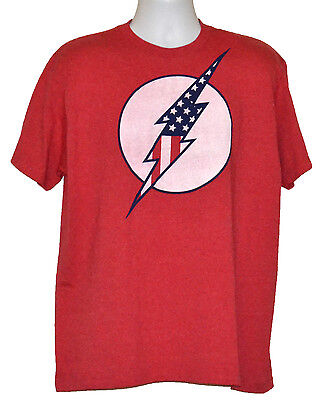 Contemporary Bolts (The Flash T-shirt DC Comics Graphic Tee US Flag Bolt Red)