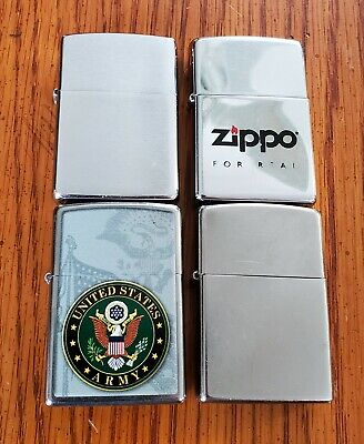 Lot of 4 Zippo Lighters US Army Zippo For Real Plain 1991-2015 ALL WORKING