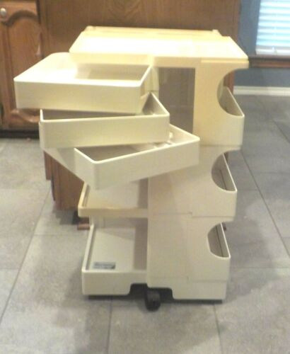 Vtg BOBY CART-TABORET Trolley Mobil Storage Off White Art Cosmetic Office Cart