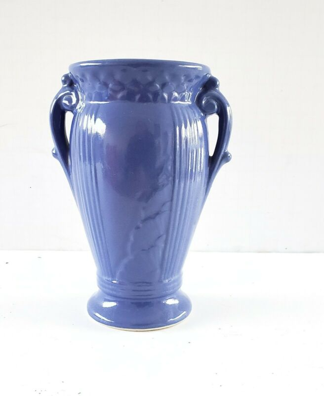 Vintage Robinson Ransbottom Vase Blue Tionesta Art Ware RRPC Double Handled 1939