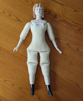 Bisque China Head Doll Cloth Body Shoulder Handmade Martz Vintage 1978 OOAK