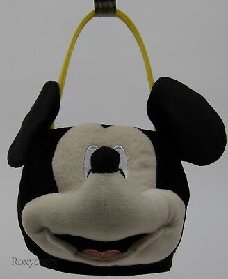 Easter Disney Mickey Mouse Face Plush Tote Basket 7x8x8 NWT