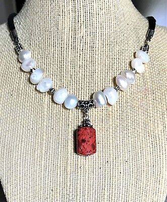 Natural Sponge Coral Necklace - Natural Flat Side Potato Pearls and Sponge Sea Coral (Dyed) Pendant Necklace USA