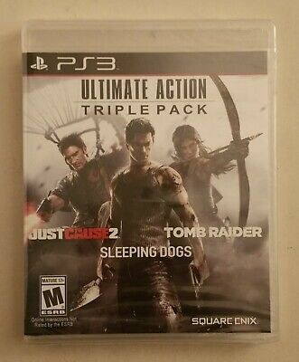 Usado, PS3 Ultimate Action Triple Pack w/ Sleeping Dogs Tomb Raider Just Cause 2 NEW comprar usado  Enviando para Brazil
