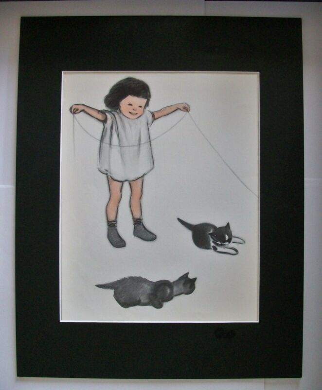 Cat Print Clare Newberry Little Girl Plays W Kittens Bookplate 1952 11x14 Matted