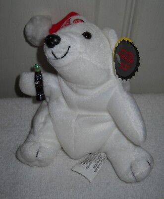#10038 RETIRED NWT 1997 Coca Cola Polar Bear Bean Bag Plush #0104 Snow Flake Cap