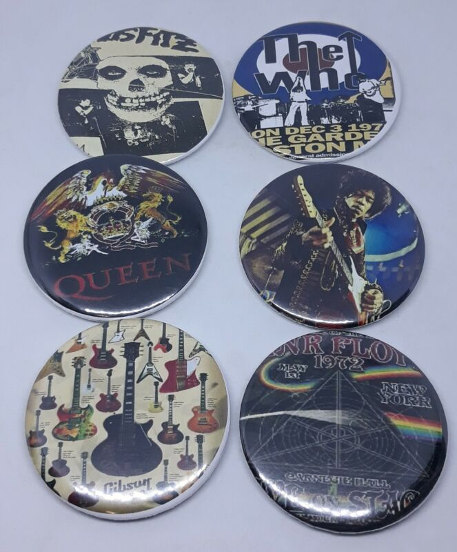 Clasic rock bands Vintage buttons Pin Badge