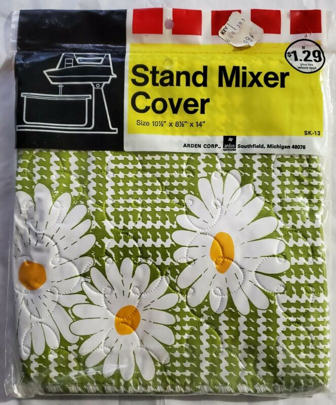 New Vintage Stand Mixer Dust Cover Kitchen Aide Daisies Flowers Floral Green