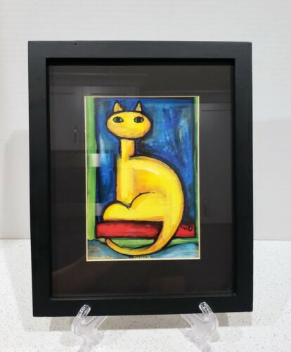 """Framed Signed Noelle Dass 2004 Print """"Cat on a Sill"""" Bold Colors Yellow Red Blue"""